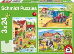 Schmidt Spiele Kinderpuzzle Auf dem Bauernhof, 3x24 Teile